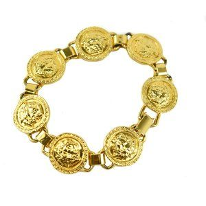"VERSACE: Gold, Metal ""Medusa"" Logo Bracelet (mq)"
